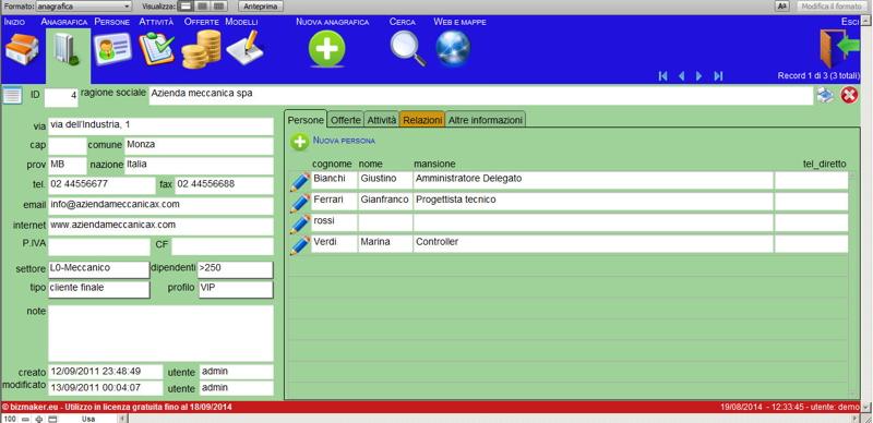 Bizmaker ® CRM b2b - Genera nuovo valore per i tuoi clienti tenendo traccia di contatti, conversazioni, opportunità, relazioni e bisogni.