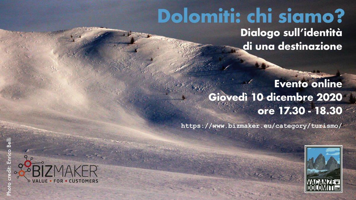 Evento on-line: Dolomiti, chi siamo? Dialogo sull'identità di una destinazione: giovedì 10 dicembre ore 17.30.